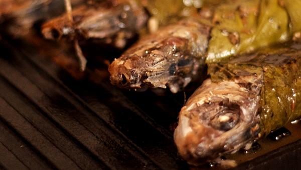 Sardine în foi de viță pe grill de fonta